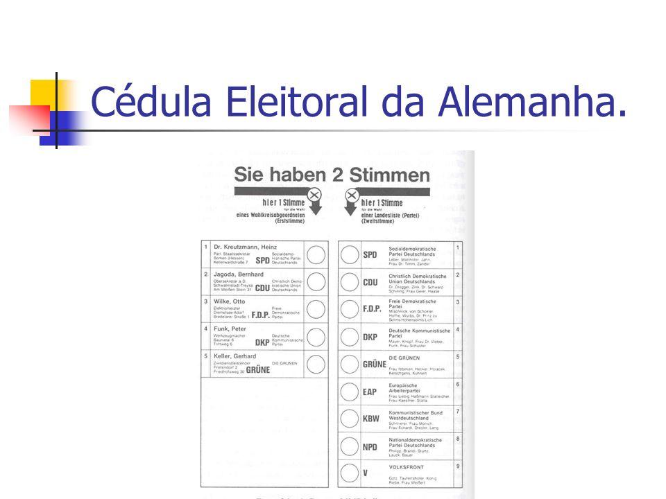 Cédula Eleitoral da Alemanha.