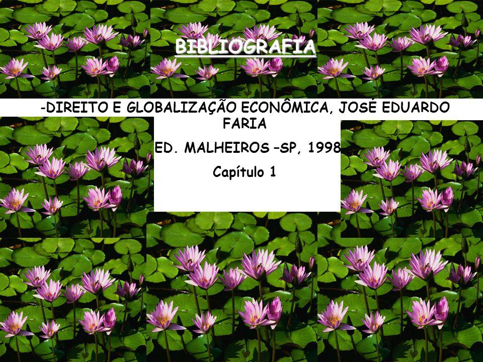 BIBLIOGRAFIA -DIREITO E GLOBALIZAÇÃO ECONÔMICA, JOSÉ EDUARDO FARIA ED. MALHEIROS –SP, 1998 Capítulo 1