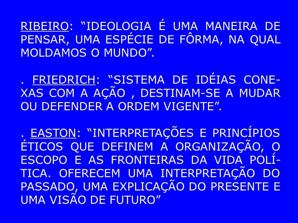 RIBEIRO: IDEOLOGIA É UMA MANEIRA DE PENSAR, UMA ESPÉCIE DE FÔRMA, NA QUAL MOLDAMOS O MUNDO..