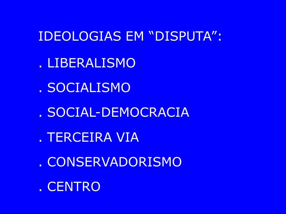 IDEOLOGIAS EM DISPUTA:.LIBERALISMO. SOCIALISMO. SOCIAL-DEMOCRACIA.