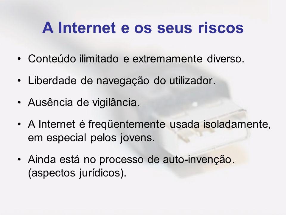 A Internet e os seus riscos Conteúdo ilimitado e extremamente diverso. Liberdade de navegação do utilizador. Ausência de vigilância. A Internet é freq