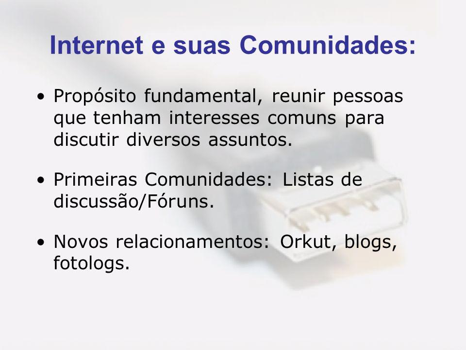 Internet e suas Comunidades: Propósito fundamental, reunir pessoas que tenham interesses comuns para discutir diversos assuntos. Primeiras Comunidades