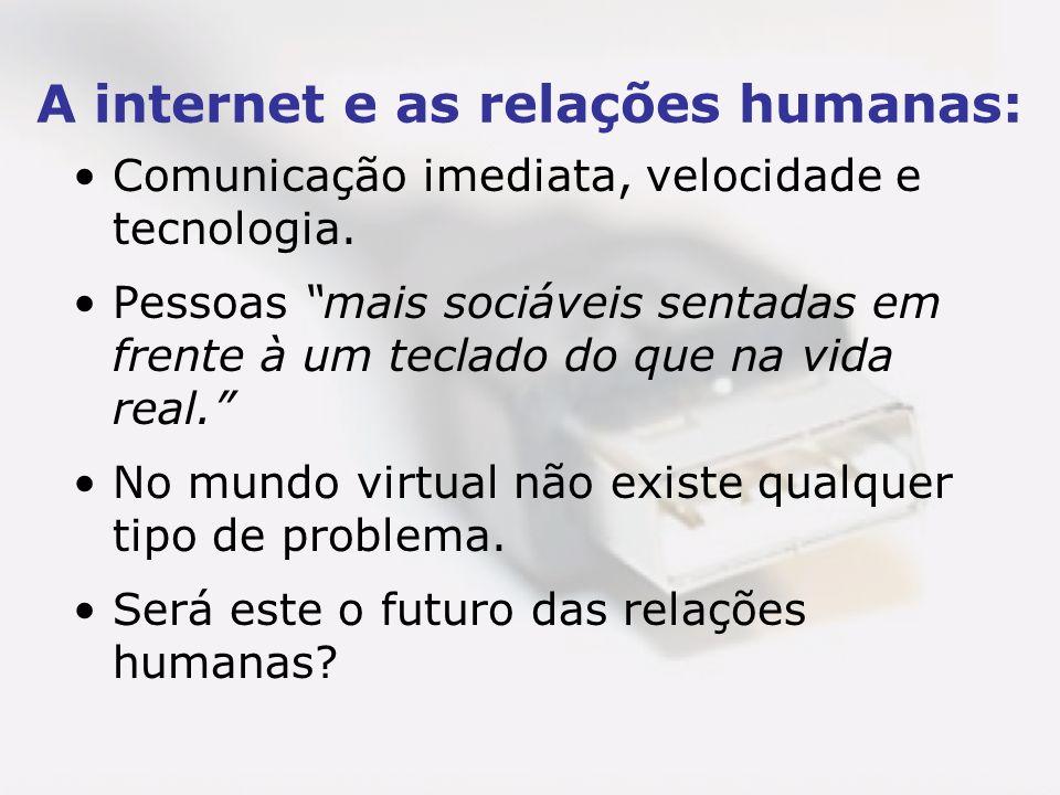 A internet e as relações humanas: Comunicação imediata, velocidade e tecnologia. Pessoas mais sociáveis sentadas em frente à um teclado do que na vida