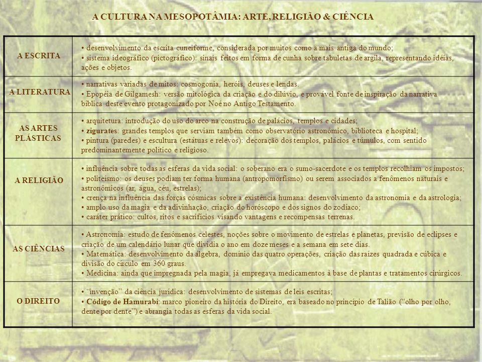 A CULTURA NA MESOPOTÂMIA: ARTE, RELIGIÃO & CIÊNCIA A RELIGIÃO AS CIÊNCIAS AS ARTES PLÁSTICAS A LITERATURA desenvolvimento da escrita cuneiforme, consi