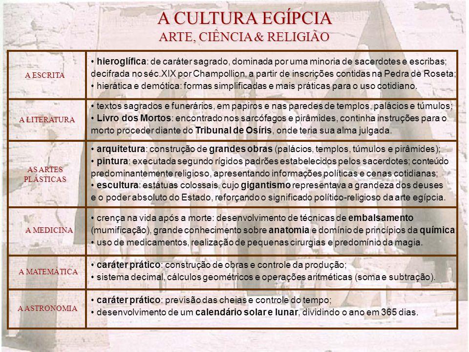 A CULTURA EGÍPCIA ARTE, CIÊNCIA & RELIGIÃO A MEDICINA A MATEMÁTICA AS ARTES PLÁSTICAS A LITERATURA hieroglífica: de caráter sagrado, dominada por uma