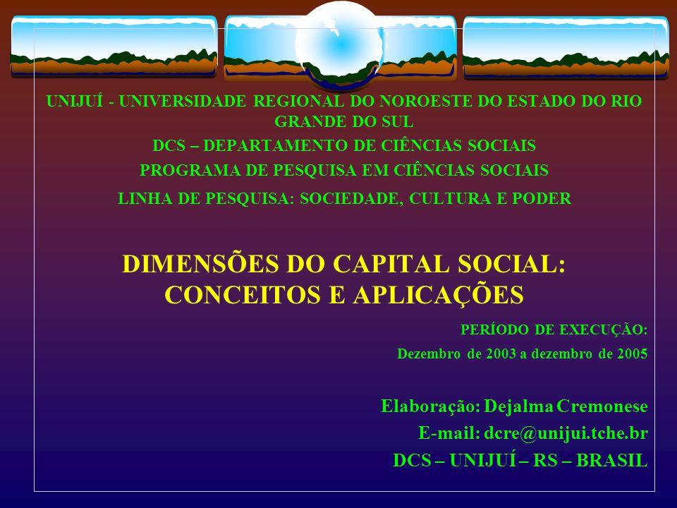 Capital social : um conceito heterogêneo Estruturas sociais (Coleman) obrigações recíprocas canais de informações normas sociais Ordenamento das organizações sociais (Putnam) confiança, normas e redes, engajamento civico e comunitário.