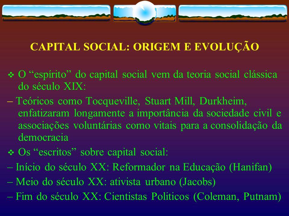 CAPITAL SOCIAL: ORIGEM E EVOLUÇÃO O espírito do capital social vem da teoria social clássica do século XIX: – Teóricos como Tocqueville, Stuart Mill,