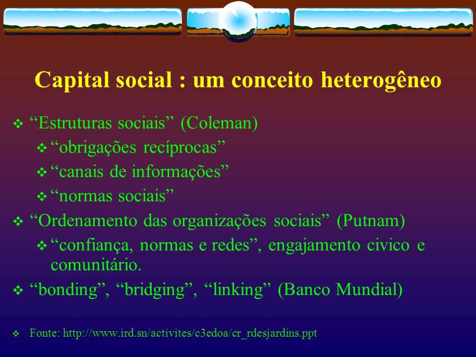 Capital social : um conceito heterogêneo Estruturas sociais (Coleman) obrigações recíprocas canais de informações normas sociais Ordenamento das organ