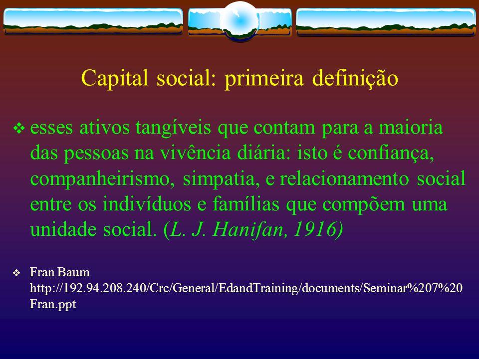 Capital social: primeira definição esses ativos tangíveis que contam para a maioria das pessoas na vivência diária: isto é confiança, companheirismo,