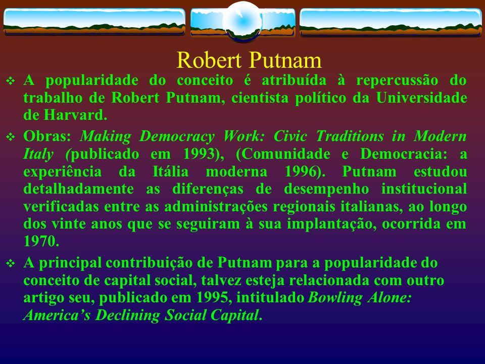 Robert Putnam A popularidade do conceito é atribuída à repercussão do trabalho de Robert Putnam, cientista político da Universidade de Harvard. Obras: