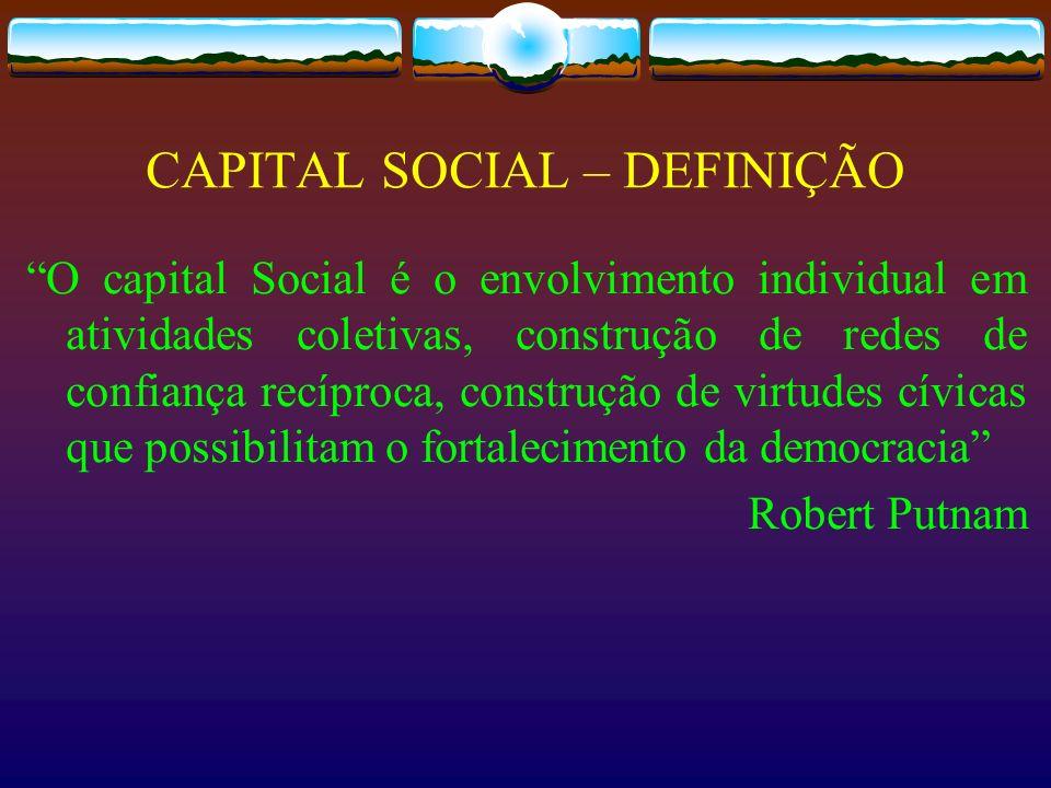 CAPITAL SOCIAL – DEFINIÇÃO O capital Social é o envolvimento individual em atividades coletivas, construção de redes de confiança recíproca, construçã