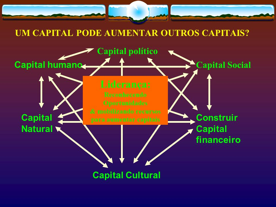 UM CAPITAL PODE AUMENTAR OUTROS CAPITAIS? Capital Social Construir Capital financeiro Capital humano Capital Natural Capital Cultural Capital político