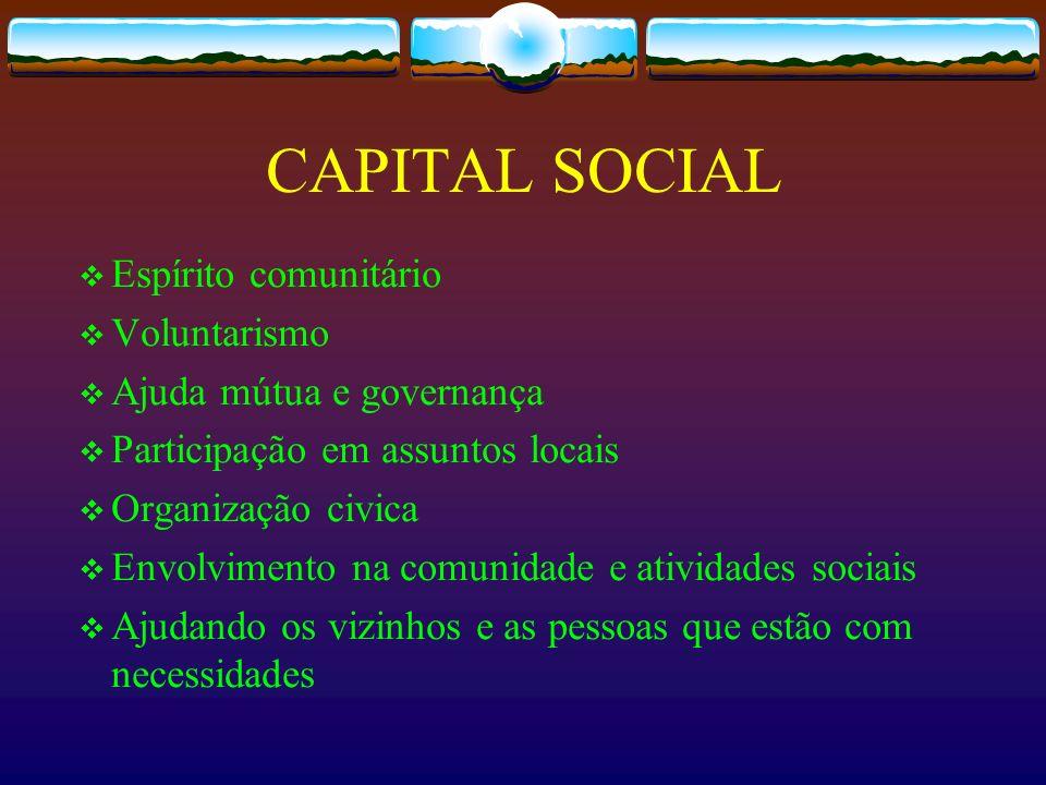 CAPITAL SOCIAL Espírito comunitário Voluntarismo Ajuda mútua e governança Participação em assuntos locais Organização civica Envolvimento na comunidad