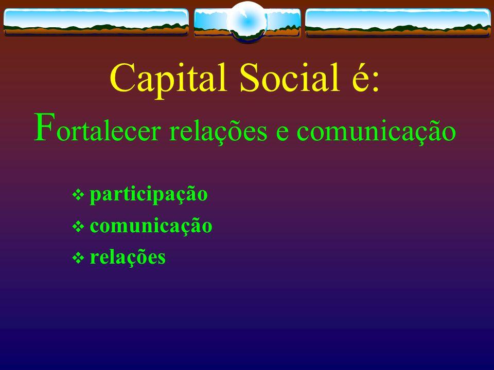 Capital Social é: F ortalecer relações e comunicação participação comunicação relações