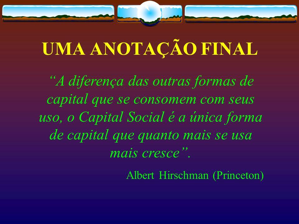 A diferença das outras formas de capital que se consomem com seus uso, o Capital Social é a única forma de capital que quanto mais se usa mais cresce.