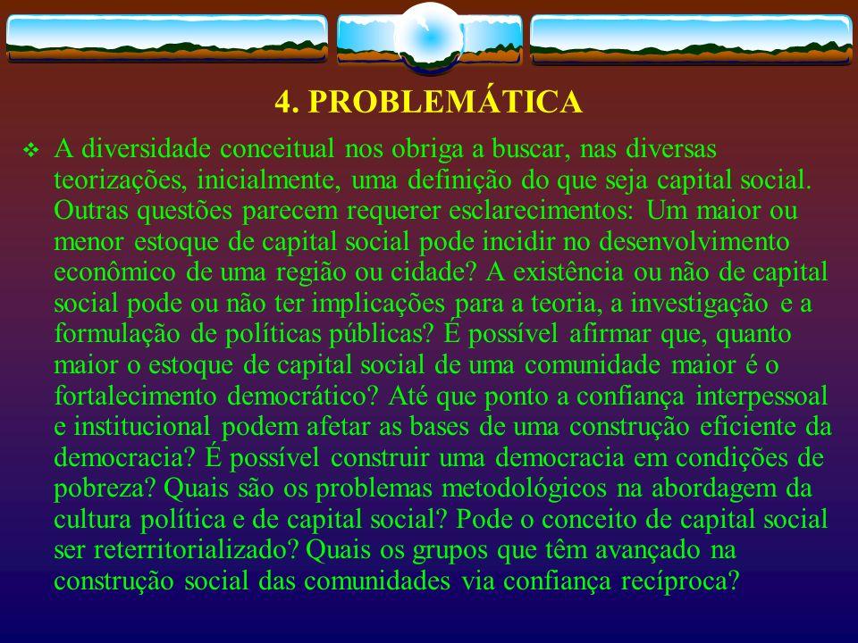 4. PROBLEMÁTICA A diversidade conceitual nos obriga a buscar, nas diversas teorizações, inicialmente, uma definição do que seja capital social. Outras