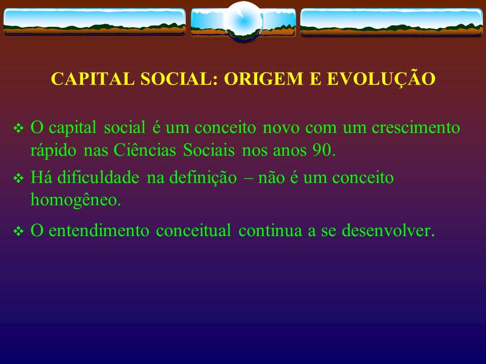 CAPITAL SOCIAL: ORIGEM E EVOLUÇÃO O capital social é um conceito novo com um crescimento rápido nas Ciências Sociais nos anos 90. Há dificuldade na de