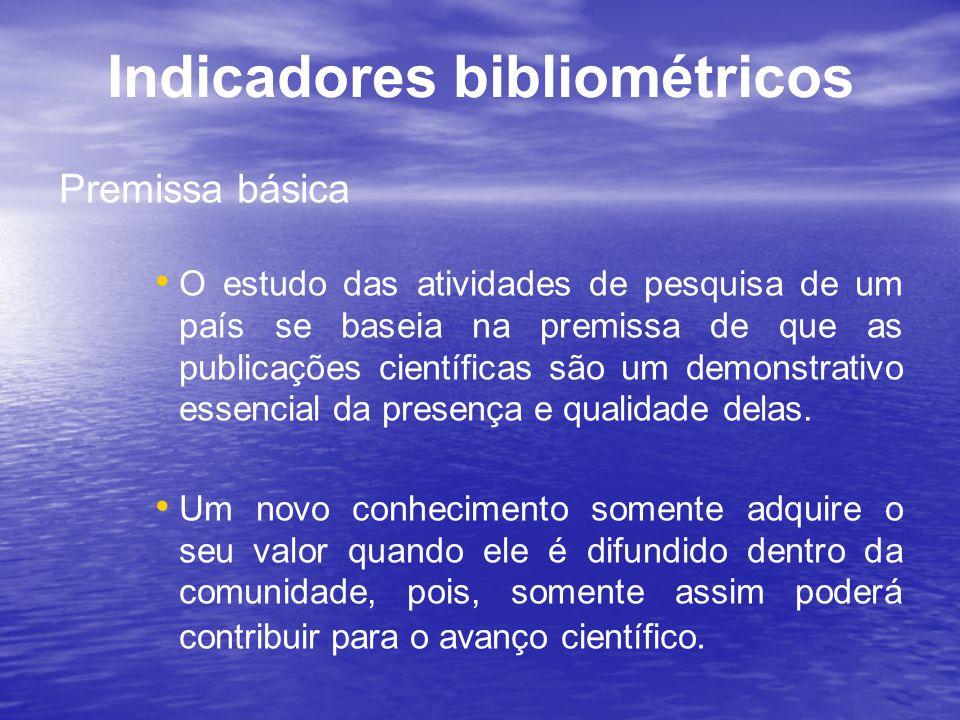 Indicadores bibliométricos Premissa básica O estudo das atividades de pesquisa de um país se baseia na premissa de que as publicações científicas são