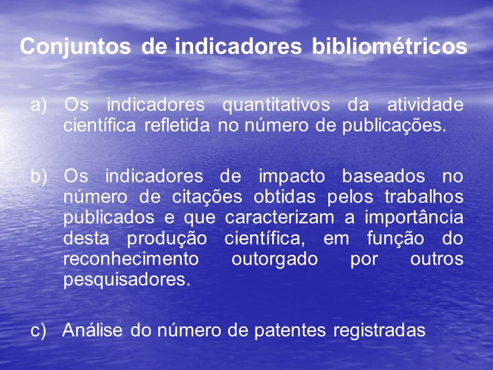 Conjuntos de indicadores bibliométricos a) Os indicadores quantitativos da atividade científica refletida no número de publicações. b) Os indicadores