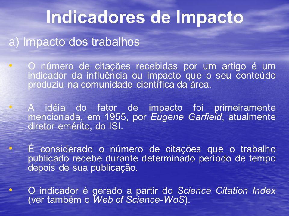 Indicadores de Impacto a) Impacto dos trabalhos O número de citações recebidas por um artigo é um indicador da influência ou impacto que o seu conteúd