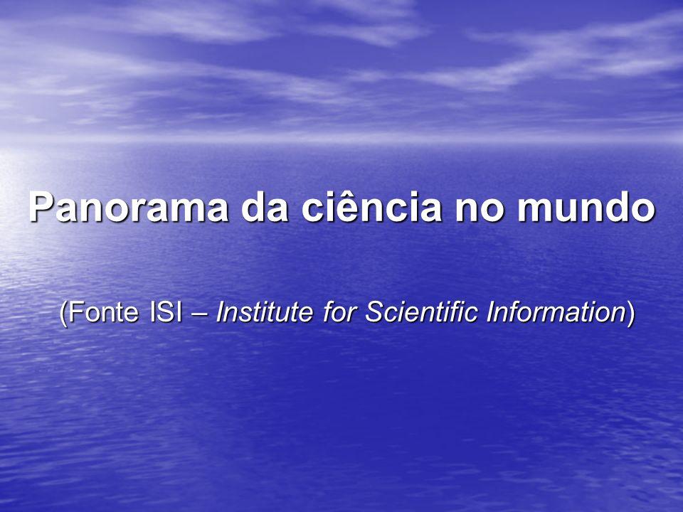 Panorama da ciência no mundo (Fonte ISI – Institute for Scientific Information)