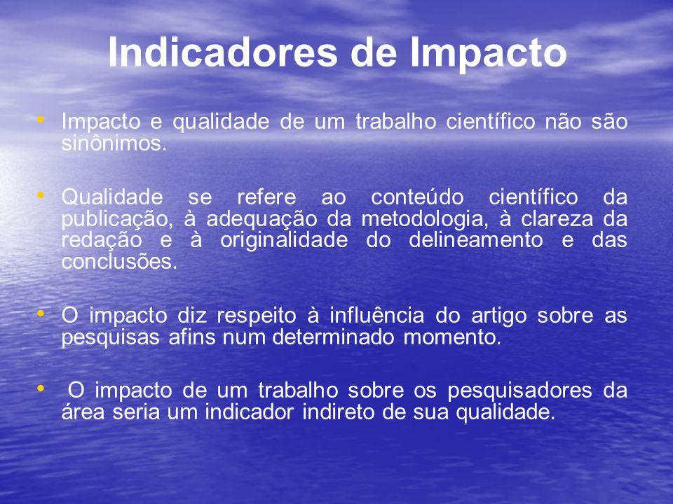 Indicadores de Impacto Impacto e qualidade de um trabalho científico não são sinônimos. Qualidade se refere ao conteúdo científico da publicação, à ad
