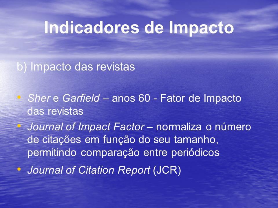 Indicadores de Impacto b) Impacto das revistas Sher e Garfield – anos 60 - Fator de Impacto das revistas Journal of Impact Factor – normaliza o número