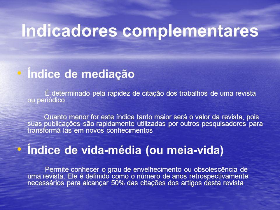 Indicadores complementares Índice de mediação É determinado pela rapidez de citação dos trabalhos de uma revista ou periódico Quanto menor for este ín