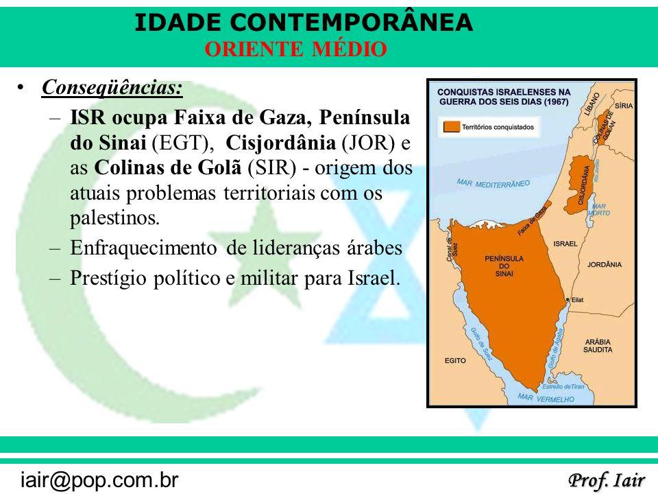 IDADE CONTEMPORÂNEA Prof. Iair iair@pop.com.br ORIENTE MÉDIO Conseqüências: –ISR ocupa Faixa de Gaza, Península do Sinai (EGT), Cisjordânia (JOR) e as