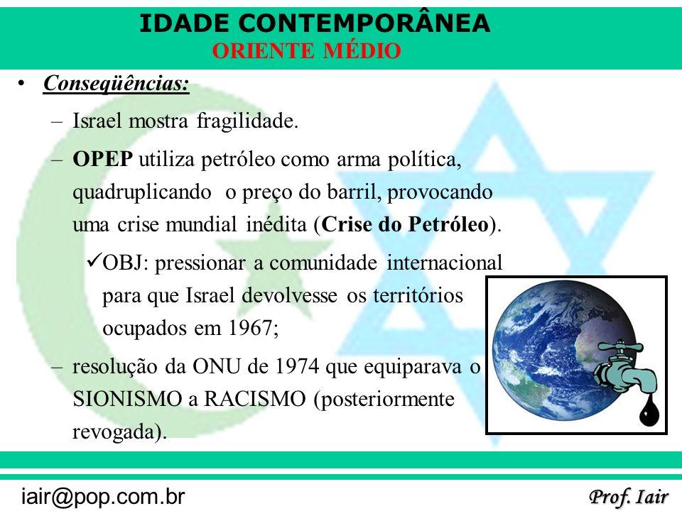 IDADE CONTEMPORÂNEA Prof. Iair iair@pop.com.br ORIENTE MÉDIO Conseqüências: –Israel mostra fragilidade. –OPEP utiliza petróleo como arma política, qua