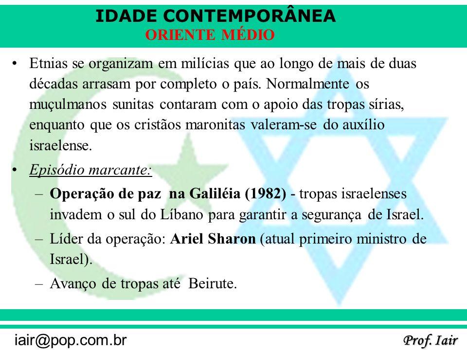 IDADE CONTEMPORÂNEA Prof. Iair iair@pop.com.br ORIENTE MÉDIO Etnias se organizam em milícias que ao longo de mais de duas décadas arrasam por completo