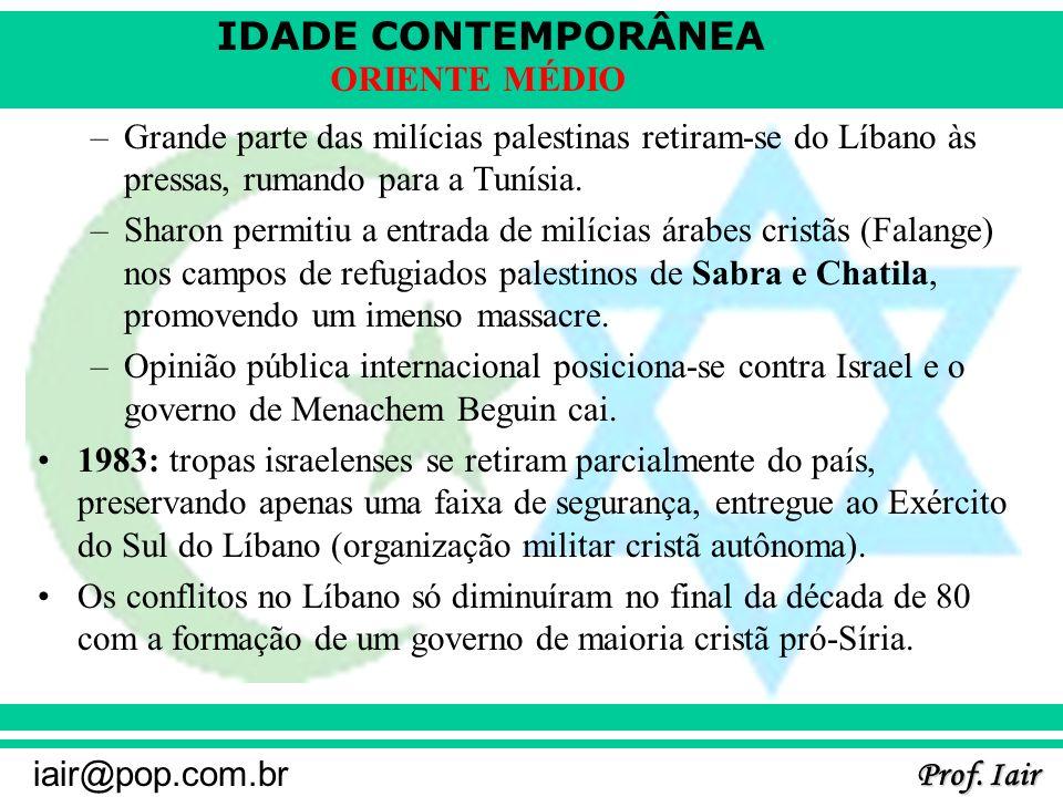 IDADE CONTEMPORÂNEA Prof. Iair iair@pop.com.br ORIENTE MÉDIO –Grande parte das milícias palestinas retiram-se do Líbano às pressas, rumando para a Tun