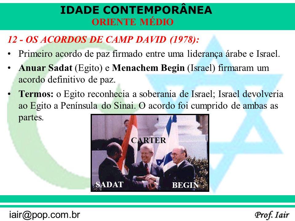 IDADE CONTEMPORÂNEA Prof. Iair iair@pop.com.br ORIENTE MÉDIO 12 - OS ACORDOS DE CAMP DAVID (1978): Primeiro acordo de paz firmado entre uma liderança