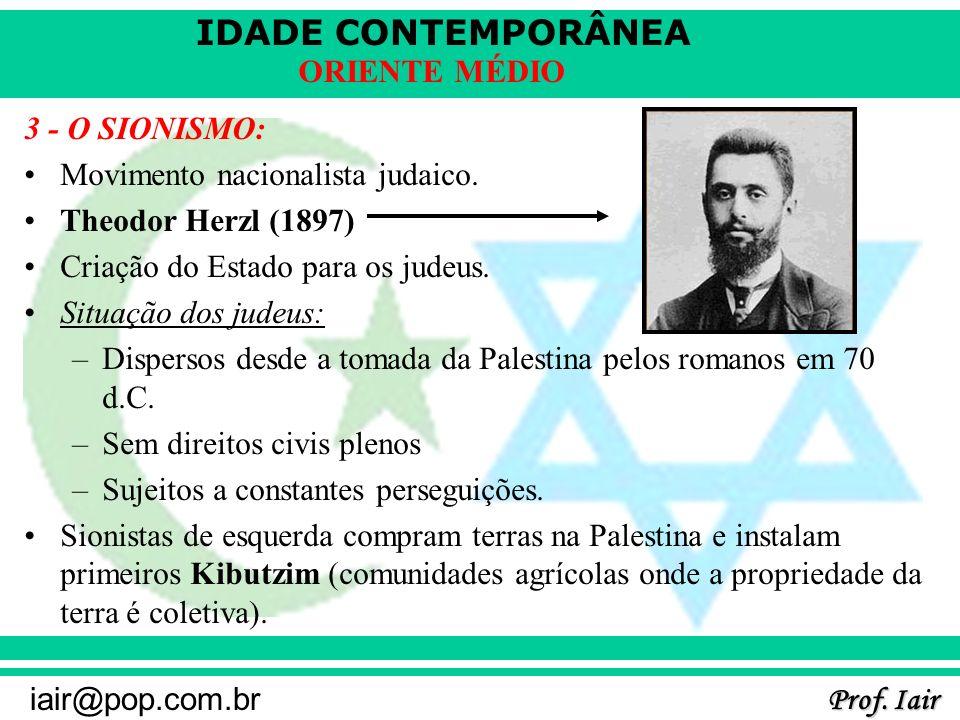 IDADE CONTEMPORÂNEA Prof. Iair iair@pop.com.br ORIENTE MÉDIO 3 - O SIONISMO: Movimento nacionalista judaico. Theodor Herzl (1897) Criação do Estado pa