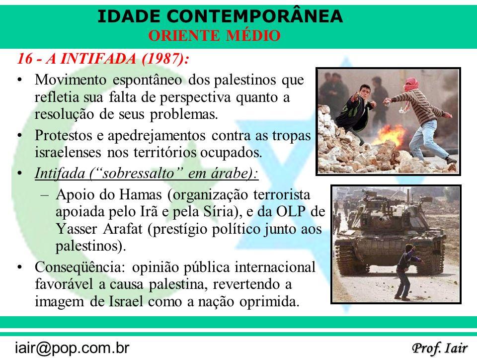 IDADE CONTEMPORÂNEA Prof. Iair iair@pop.com.br ORIENTE MÉDIO 16 - A INTIFADA (1987): Movimento espontâneo dos palestinos que refletia sua falta de per