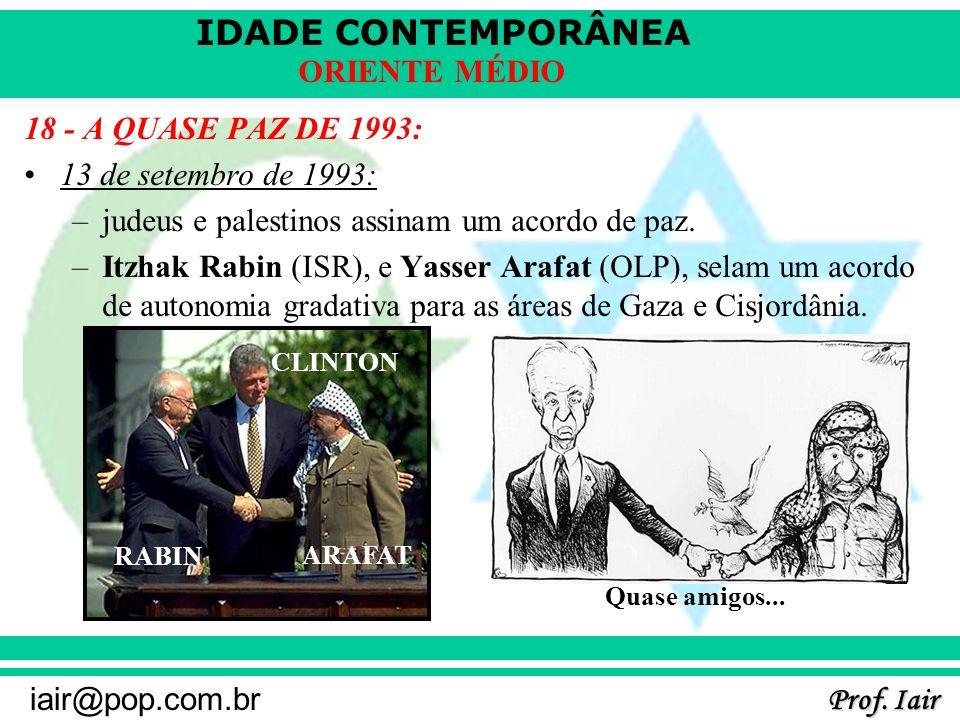 IDADE CONTEMPORÂNEA Prof. Iair iair@pop.com.br ORIENTE MÉDIO 18 - A QUASE PAZ DE 1993: 13 de setembro de 1993: –judeus e palestinos assinam um acordo