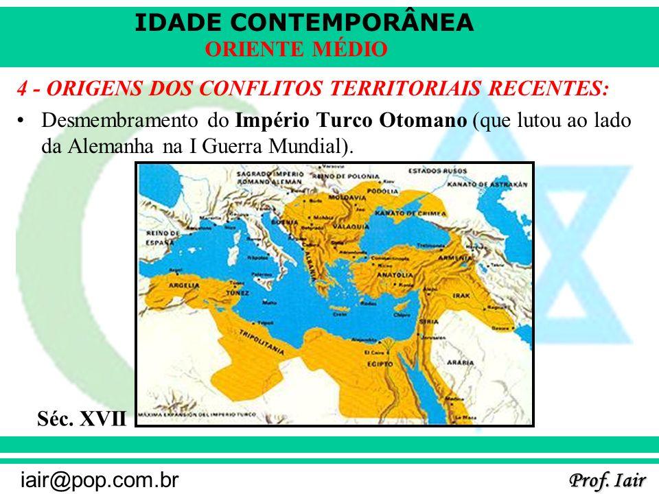 IDADE CONTEMPORÂNEA Prof. Iair iair@pop.com.br ORIENTE MÉDIO 4 - ORIGENS DOS CONFLITOS TERRITORIAIS RECENTES: Desmembramento do Império Turco Otomano