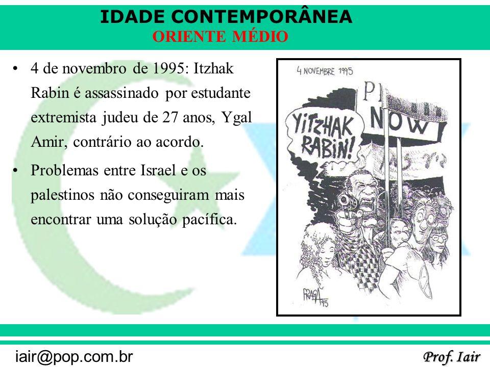 IDADE CONTEMPORÂNEA Prof. Iair iair@pop.com.br ORIENTE MÉDIO 4 de novembro de 1995: Itzhak Rabin é assassinado por estudante extremista judeu de 27 an
