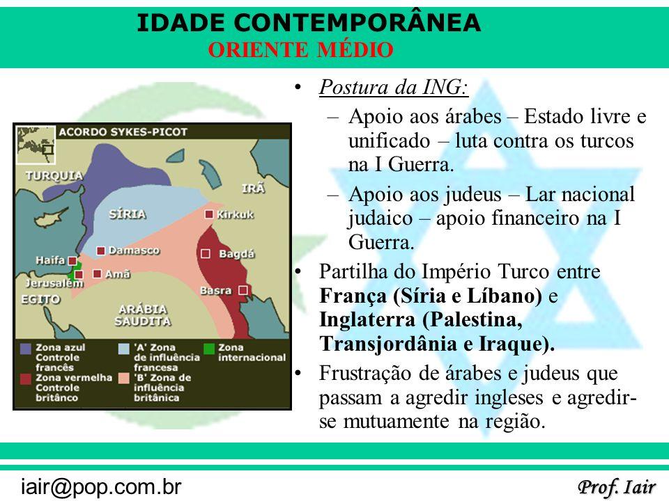 IDADE CONTEMPORÂNEA Prof. Iair iair@pop.com.br ORIENTE MÉDIO Postura da ING: –Apoio aos árabes – Estado livre e unificado – luta contra os turcos na I