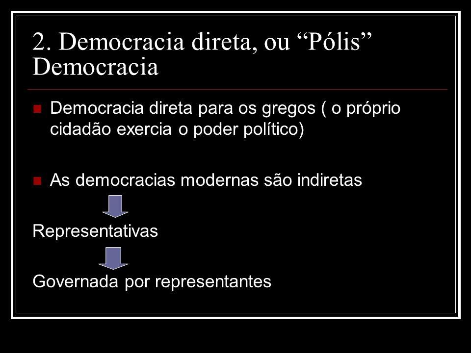 2. Democracia direta, ou Pólis Democracia Democracia direta para os gregos ( o próprio cidadão exercia o poder político) As democracias modernas são i