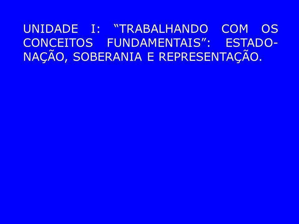 UNIDADE I: TRABALHANDO COM OS CONCEITOS FUNDAMENTAIS: ESTADO- NAÇÃO, SOBERANIA E REPRESENTAÇÃO.