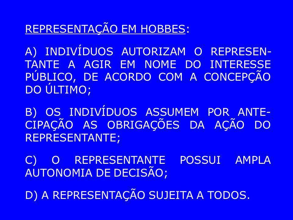 REPRESENTAÇÃO EM HOBBES: A) INDIVÍDUOS AUTORIZAM O REPRESEN- TANTE A AGIR EM NOME DO INTERESSE PÚBLICO, DE ACORDO COM A CONCEPÇÃO DO ÚLTIMO; B) OS IND