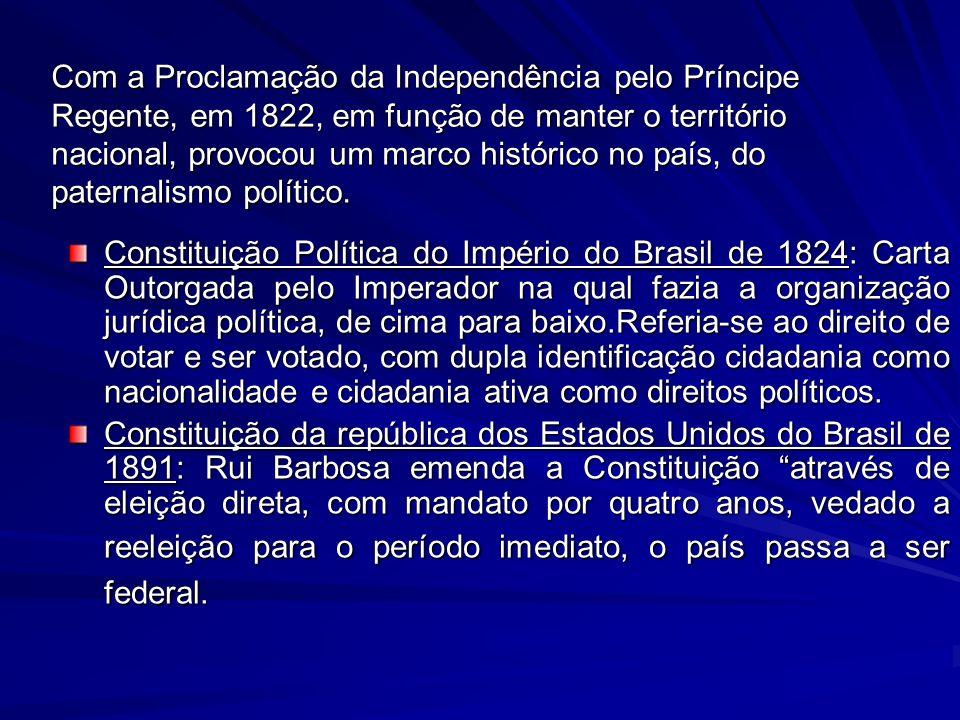 Com a Proclamação da Independência pelo Príncipe Regente, em 1822, em função de manter o território nacional, provocou um marco histórico no país, do