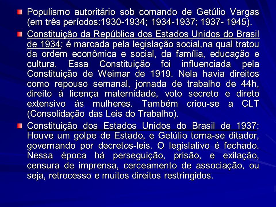 Populismo autoritário sob comando de Getúlio Vargas (em três períodos:1930-1934; 1934-1937; 1937- 1945). Constituição da República dos Estados Unidos