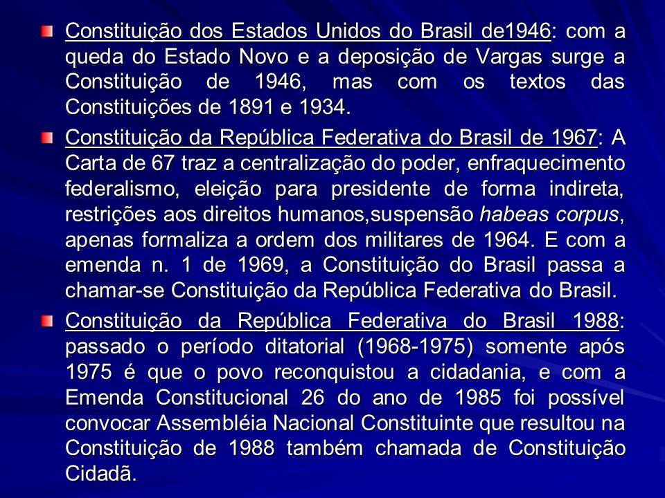 Constituição dos Estados Unidos do Brasil de1946: com a queda do Estado Novo e a deposição de Vargas surge a Constituição de 1946, mas com os textos d