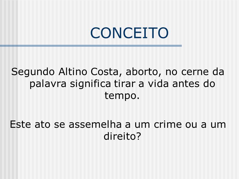 CONCEITO Segundo Altino Costa, aborto, no cerne da palavra significa tirar a vida antes do tempo.
