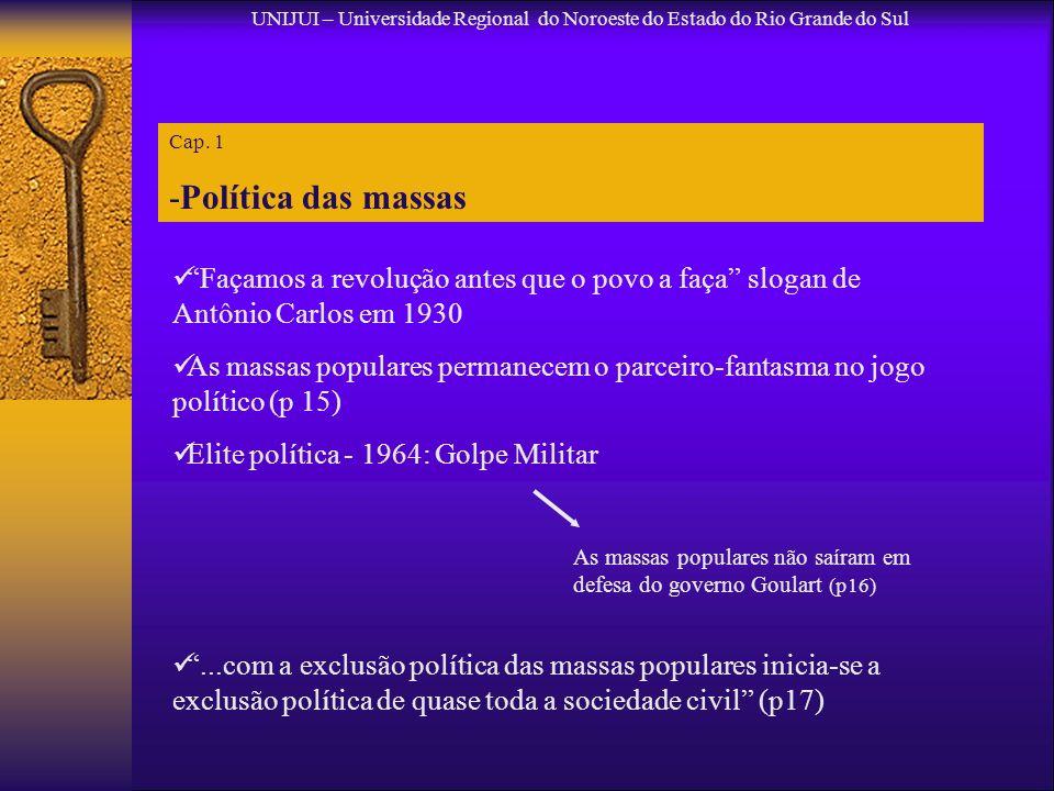 Cap. 1 -Política das massas UNIJUI – Universidade Regional do Noroeste do Estado do Rio Grande do Sul Façamos a revolução antes que o povo a faça slog