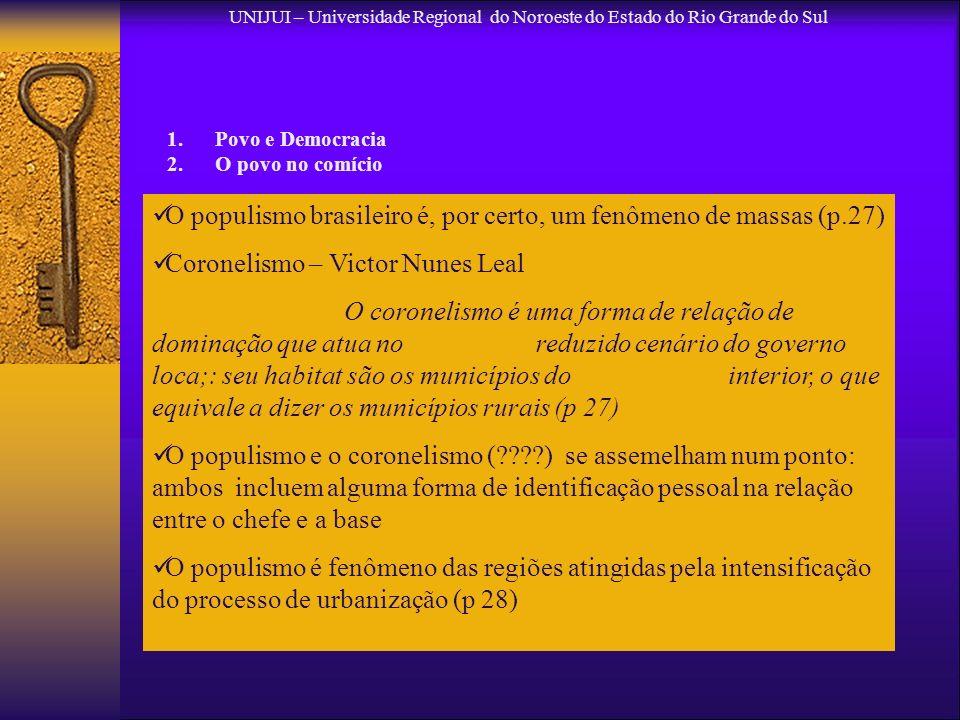 UNIJUI – Universidade Regional do Noroeste do Estado do Rio Grande do Sul 1.Povo e Democracia 2.O povo no comício O populismo brasileiro é, por certo,