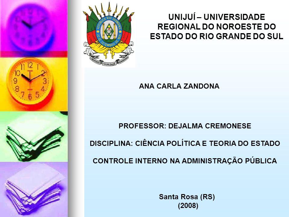 UNIJUÍ – UNIVERSIDADE REGIONAL DO NOROESTE DO ESTADO DO RIO GRANDE DO SUL ANA CARLA ZANDONA PROFESSOR: DEJALMA CREMONESE DISCIPLINA: CIÊNCIA POLÍTICA