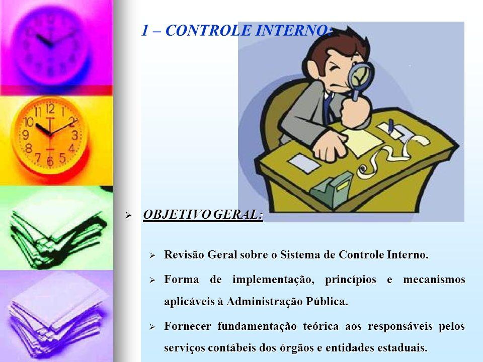 OBJETIVO GERAL: OBJETIVO GERAL: Revisão Geral sobre o Sistema de Controle Interno. Revisão Geral sobre o Sistema de Controle Interno. Forma de impleme